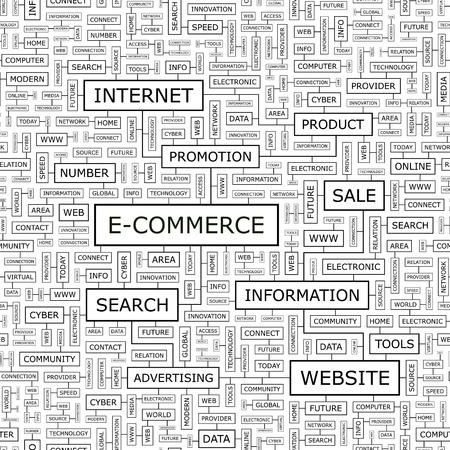 E-COMMERCE  Word cloud concept illustration