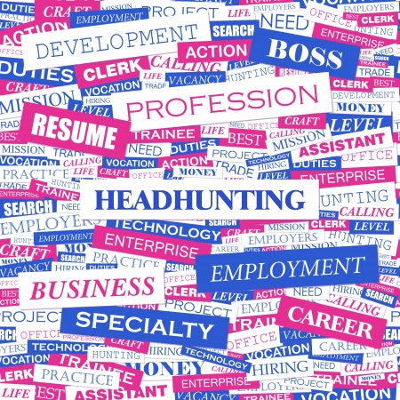 HEADHUNTING  Word cloud concept illustration