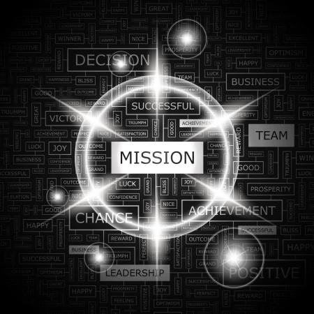 MISSION  Word cloud concept illustration