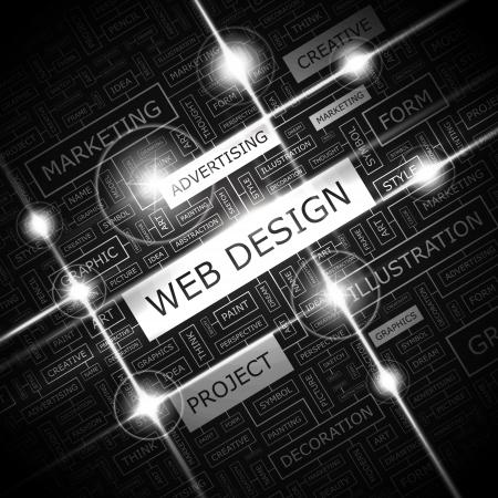 WEB DESIGN  Background concept wordcloud illustration  Print concept word cloud  Graphic collage  Vector illustration