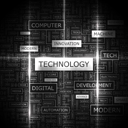 Ilustración de TECHNOLOGY  Word cloud concept illustration  - Imagen libre de derechos