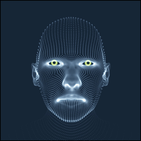 Illustration for Head of the Person from a 3d Grid. Human Head Model. Face Scanning. View of Human Head. 3D Geometric Face Design. 3d Covering Skin. Geometry Man Portrait. Can be used for avatar, science, technology - Royalty Free Image