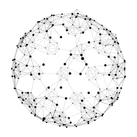 Ilustración de Sphere with Connected Lines and Dots. Global Digital Connections. Globe Grid. Wireframe Sphere Illustration. Abstract 3D Grid Design. 3D Technology Style. Networks. - Imagen libre de derechos