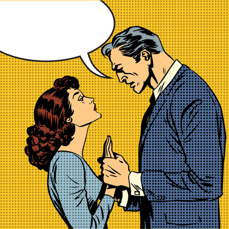 husband and wife lovers serious talk love conflict pop art comic