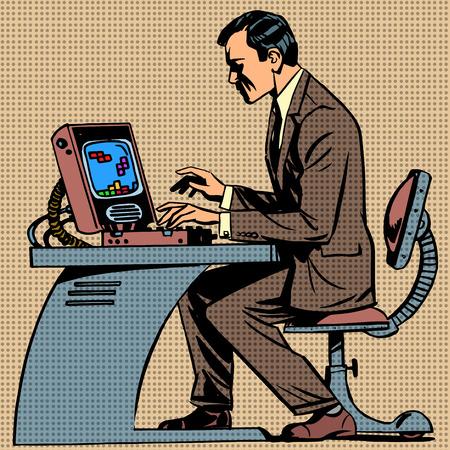 Illustration pour old man plays a computer game pop art comics ret - image libre de droit