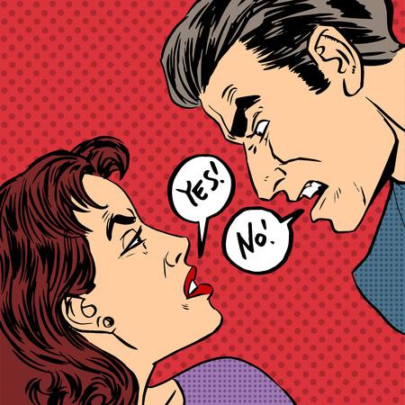 Angry quarrel male female Yes no pop art comics retro style Halftone. Imitation of old illustrations