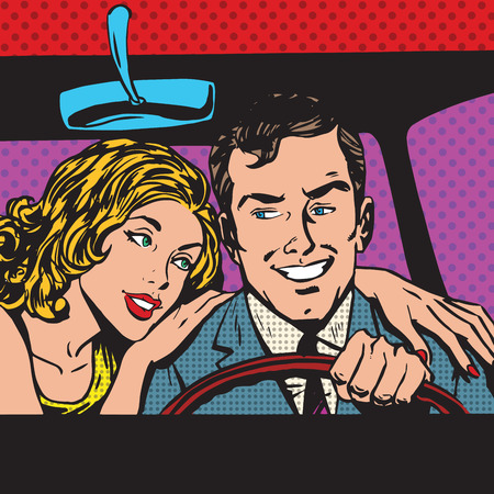 Man and woman in the car family pop art comics retro style Halftone. Imitation of old illustrations. Imitation vintage illustrations. Buy transport