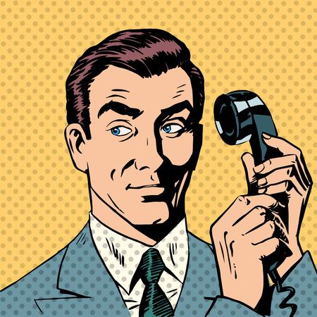 Foto de Male businessman talking on the phone style pop art retro - Imagen libre de derechos