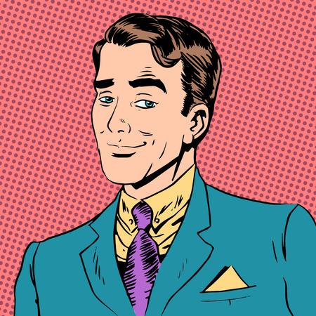 Illustration pour Elegant man a gentleman flirting love the look art pop retro vin - image libre de droit