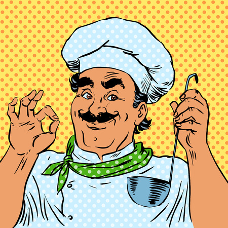The cook in the kitchen the taste of food quality of a restaurant chef. The man smiles profe