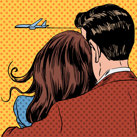 Photo pour Loving couple looking at a plane taking off in the sky. A man and a woman hug and stand back - image libre de droit