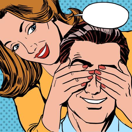Illustration pour Who is the woman closed the man eyes for a surprise. Retro style couple - image libre de droit