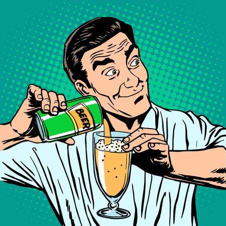 Illustration pour The bartender pours the beer. Alcohol drinks bar man - image libre de droit