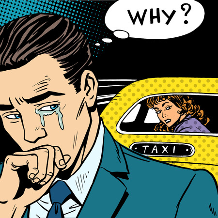 Foto de A man weeps his woman is leaving by taxi. Divorce separation love emotion crying - Imagen libre de derechos