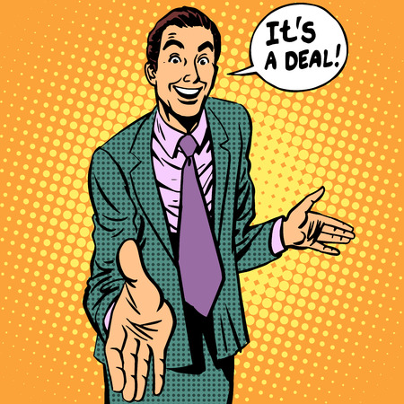 Illustration pour  businessman handshake contract retro style - image libre de droit