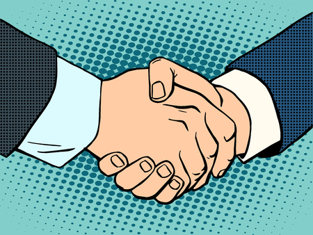 Photo pour Handshake. business deal. Business concept then art retro style - image libre de droit