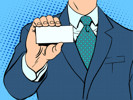 Businessman and business card. Retro style pop art