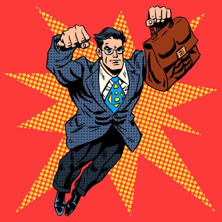 Illustration pour Businessman superhero work flight business concept retro style pop art. A grown man in a business suit. The image of bravery and courage. Retro style pop art - image libre de droit