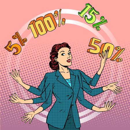 Promotions discounts sale. Businesswoman juggling cent. Business concept trade. Pop art retro style