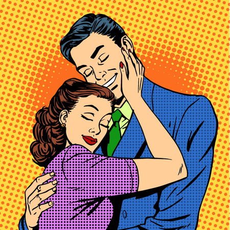 Photo for Couple in love hugging husband wife retro pop art love romance - Royalty Free Image