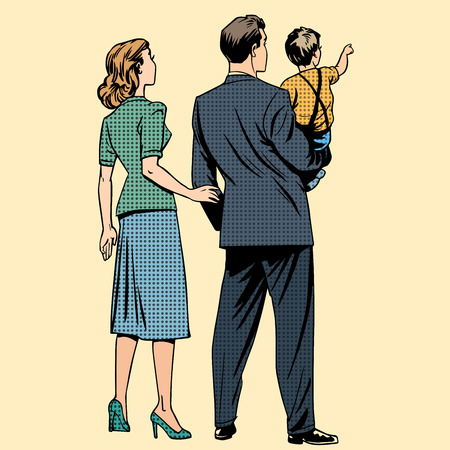 Photo pour Family dad mom son baby boy back. Man and woman in retro pop art style - image libre de droit