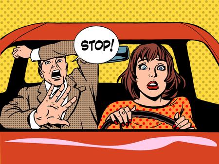 Foto de woman driver driving school panic calm retro style pop art. Car and transport - Imagen libre de derechos