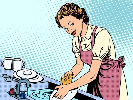 Foto de Woman washing dishes housewife housework comfort retro style pop art - Imagen libre de derechos
