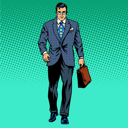 Illustration pour businessman goes forward the business concept of movement retro style pop art - image libre de droit