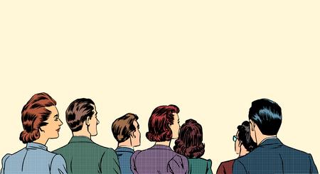 Illustration pour A crowd of spectators stand back retro style pop art - image libre de droit