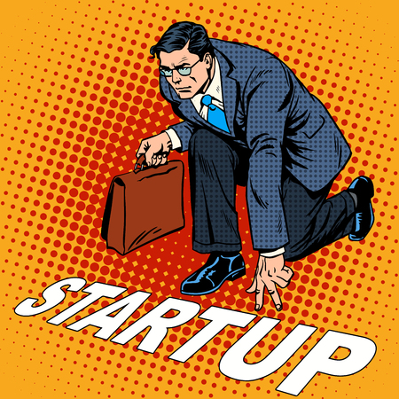 Business concept start-up businessman. Venture Fund or a startup company. Retro style pop art