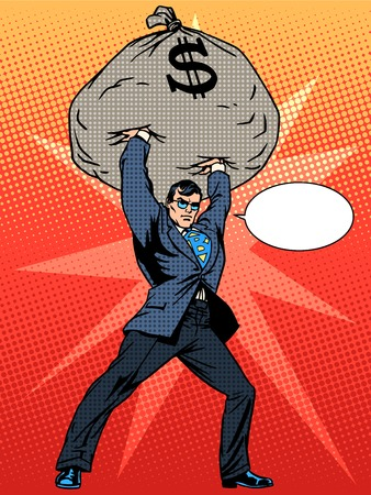 Gigantic profits of financial success. Super businessman hero with a bag of money. The business concept. Pop art retro style