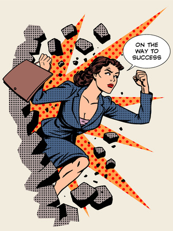 Business success businesswoman breaks the wall. Retro style pop art