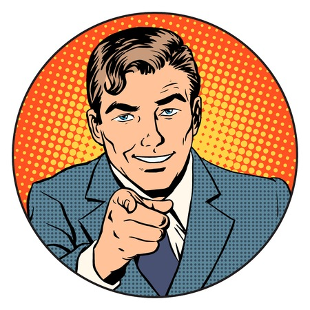 Man pointing finger in the circle retro style pop art. We are waiting for you