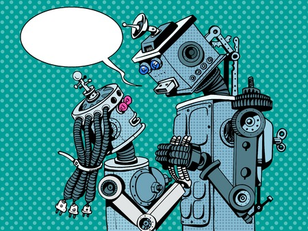 couple robots man woman love retro style pop art