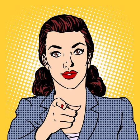 Businesswoman wants the business concept. Retro style pop art