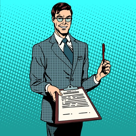 The signing of the contract signature to the document. Business concept the contract agreement deal. Retro style pop art