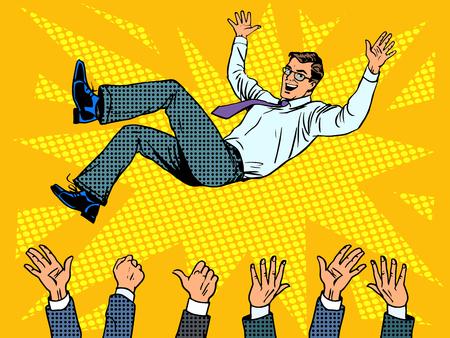 Illustration pour Triumph business success businessman winner pop art retro style - image libre de droit