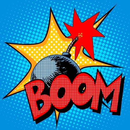 Ilustración de Boom bomb blast comic pop art retro style. Terrorism is a danger of destruction - Imagen libre de derechos