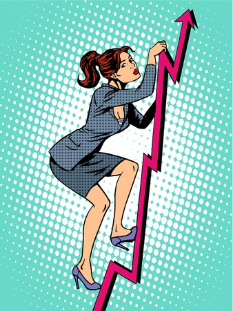 Businesswoman mountaineer schedule of sales pop art retro style. Business concept of success and work