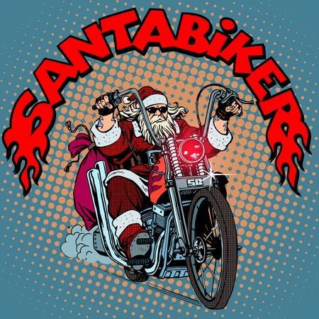 Illustration pour Santa Claus biker motorcycle Christmas gifts pop art retro style - image libre de droit