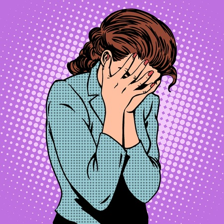 Weeping woman emotions grief pop art retro style