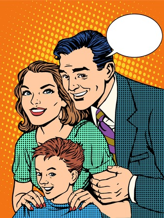 Illustration pour Happy family dad mom and son pop art retro style - image libre de droit