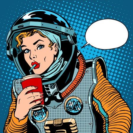 Photo pour Female astronaut drinking soda pop art retro style - image libre de droit