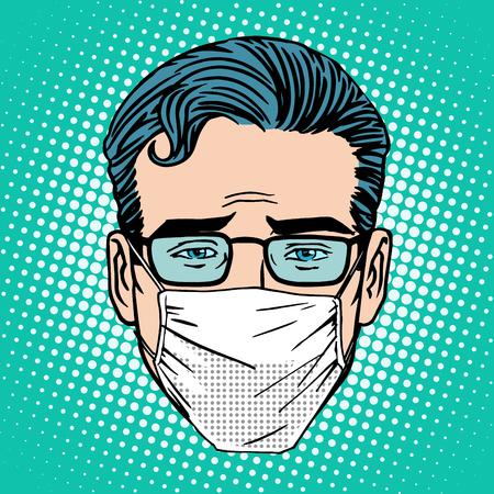 Retro Emoji sore virus infection medical mask face man pop art style
