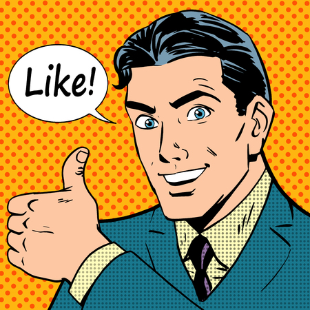 Ilustración de like button successful businessman social network pop art retro style - Imagen libre de derechos