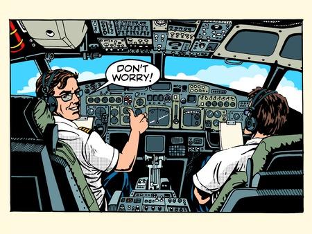 Ilustración de Aircraft cockpit pilots airplane captain pop art retro style. Aviation and travel - Imagen libre de derechos