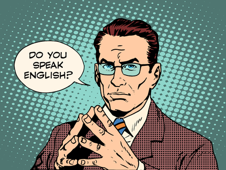 Teacher do you speak English pop art retro style. The education of foreign languages. Translator and teacher. Strong man professional