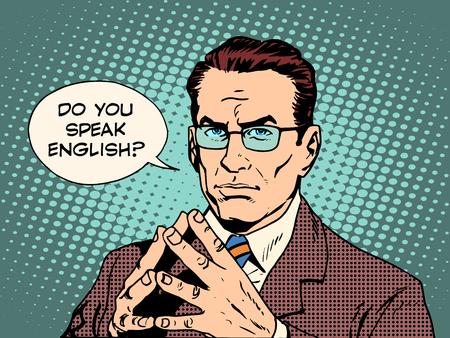 Illustration pour Teacher do you speak English pop art retro style. The education of foreign languages. Translator and teacher. Strong man professional - image libre de droit