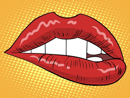 Red lips woman pop art retro style. Piece of a person. Fashion and beauty. A symbol of love. Feelings emotions