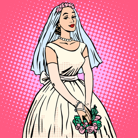Illustration pour Bride in white wedding dress pop art retro style. Beautiful woman. Tradition and celebration. Love, marriage and romance - image libre de droit